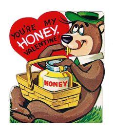 Yogi Bear vintage valentine. 1960's