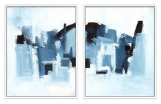 One Kings Lane Ilana Greenberg - Landscape Diptych Art Cow Painting, Oil Painting On Canvas, Seascape Paintings, Landscape Paintings, Acrylic Set, Landscape Walls, Blue Art, Artwork, Kings Lane