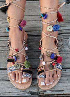 Greek Sandals. Tie up Gladiator Leather Sandals. Boho Style. Greek Genuine…
