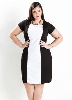 Vestido Tubinho Bicolor (Preto e Branco) Plus Size