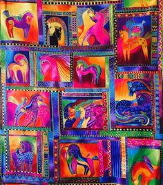 """LAUREL BURCH Fabric, Dancing Horses, Rare, Squares in jewel tones, 22""""×24"""" cotton quilt fabric panel"""