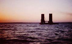 Sunset and base of Mackinac Bridge tower