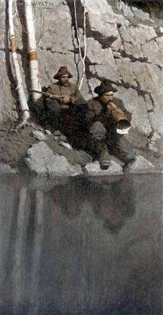 "N C Wyeth,Newell Convers Wyeth Scribner's, ""The Moose Hunter, The Midnight Call"" Wyeth, N C - 018 Jamie Wyeth, Andrew Wyeth, Nocturne, Illustrator, Nc Wyeth, American Illustration, Illustration Artists, Classic Paintings, Traditional Paintings"