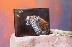 Roaring Tiger Hand Painted On Men's Leather Wallet By VKALART