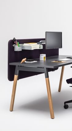 Cool black desk with matching office storage & office chairs. Wood Office Desk, Oak Desk, Office Furniture, Furniture Design, Office Interior Design, Office Interiors, Black Office, Desk Legs, Home Decor