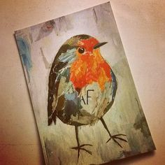 photo by a lovely client :) / POSTCARD by ©philippe patricio 2015 / all rights reserved Robin Bird, Torn Paper, Collage Artists, Shape And Form, Robins, Art Pieces, Palette, Birds, Hand Painted