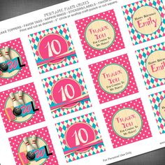 Girl Bowling Theme 2 Inch Party Circles for Cupcake Toppers, Favor Bags, Napkin Rings, Decorations, etc.