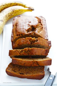 Banana Bread -- naturally-sweetened with maple syrup, easy to make, and SO moist and delicious   gimmesomeoven.com