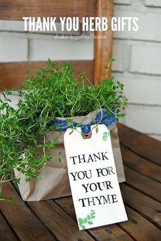 A hand stamped tag and a pretty fabric tie make these Thank You Herb Gifts the perfect Spring gift for teachers, neighbors, volunteers and more!: