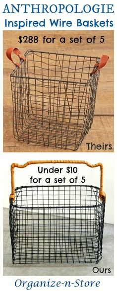 DIY Anthropologie Inspired Wire Baskets For toys, knick knacks, and storage around the house Tienda Natural, Chicken Wire Crafts, Organizing Wires, Clothes Basket, Cube Storage, Diy Storage, Storage Organizers, Storage Bins, Food Storage