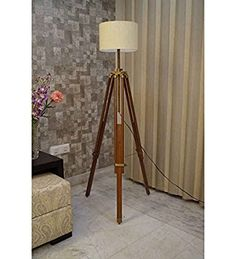 VINTAGE BROWN WOODEN FLOOR LAMP FOR LIVING ROOM WITH WHITE SHADE BY NAUTICALMART Amazon