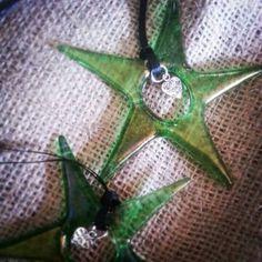 Fused iridised green stars GlassHouse