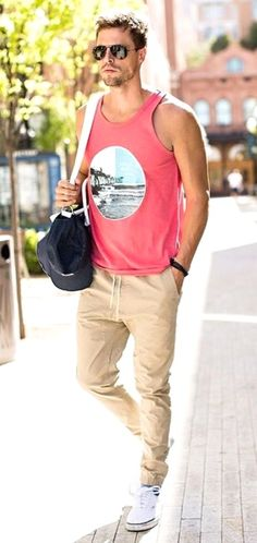 Summer Preview! Cool Street Styles for the Hot Summer months. Fit and Sporty Look with Pink Graphic Tank, Jeggings (Jogger/Leggings) and Clean White Sneaks. Follow rickysturn/mens-casual