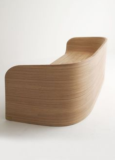 """thedesignwalker: """"KNOKKE by Carlo Colombo for Emmemobili: Wood Benches, Wavy Wood """" Modern Wood Furniture, Bench Furniture, Cool Furniture, Furniture Design, Drawing Furniture, Sofa Chair, Armchair, Chair Cushions, Furniture Inspiration"""