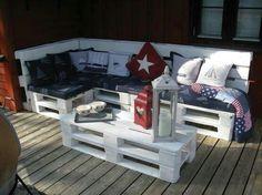 Pallet patio furniture - painted white, super crisp looking