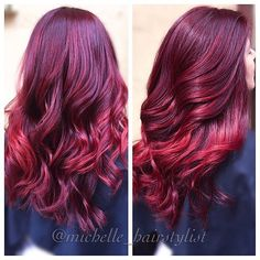 Oh my! This color is sweeter than cherry pie.  #matrixhair #matrixcolor || : @michelle_hairstylist Her formula:  Matrix SoColor HD-RV with 20vol developer. She was prelightened with Lightmaster for a few balayage pieces to add color dimension. Followed with a cut and style!
