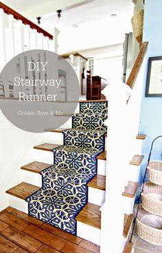 Split level foyer with DIY stair runner-www. Stair Railing, Diy Stair, Railings, Banisters, Split Foyer, Split Level Entryway, Level Homes, Carpet Stairs, New Blue