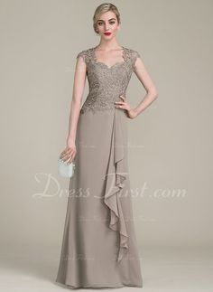 A-Line/Princess Sweetheart Floor-Length Cascading Ruffles Zipper Up Cap Straps Sleeveless No Taupe General Plus Chiffon Lace US 2 / UK 6 / EU 32 Mother of the Bride Dress Mob Dresses, Gala Dresses, Formal Dresses, Bride Dresses, Wedding Dresses, Mother Of Groom Dresses, Mother Of The Bride, Vestidos Fashion, Fashion Dresses