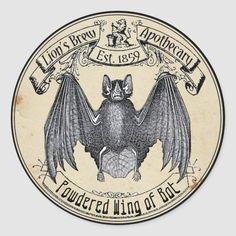 Halloween Vintage Apothecary Wing of Bat Classic Round Sticker - tap to personalize and get yours #ClassicRoundSticker  #halloween #wing #of #bat #vintage Halloween Wings, Samhain Halloween, Spooky Halloween, Halloween Ideas, Halloween Pumpkins, Halloween Season, Halloween Halloween, Halloween Makeup, Vintage Halloween Crafts
