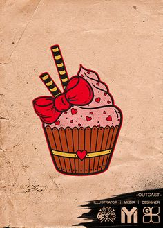 cup cake~I want this as a tattoo!