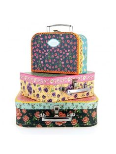 Set of 3 Flowery Cardboard Suitcases, In Bloom, Mlle Héloïse, perfect gift for a wee person on the go.