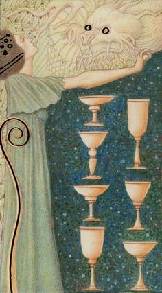 Golden Klimt Tarot - Seven of Cups. Decisions, decisions, where shall you turn your attention? What keeps you focused on the most valuable goals and lessons in your life? What distracts you? Where do you find pleasure, and how do you honor it?