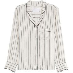 Zadig & Voltaire Striped Button-Down Blouse ($150) ❤ liked on Polyvore featuring tops, blouses, button down blouse, stripe blouse, striped top, white button down blouse and white button up top
