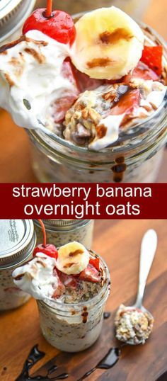 Strawberry Banana Overnight Oats {A Fun No-Fuss Breakfast} overnight oats/ strawberries/ bananas Love breakfast all ready and done for you? What if you could have breakfast that tastes like dessert?! Welcome to Strawberry Banana Overnight Oats! via @tastesoflizzyt