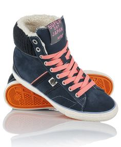 Superdry women's Hammer High boots.  Taking inspiration from vintage basketball shoes, these training shoes have a concealed wedge for added lift. Made from soft suede with a ribbed ankle panel and a faux-sheepskin part lining, the Hammer High features Superdry branded heel and tongue trims.