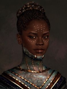 Unless I'm totally wrong, this is Shuri, T'Challa's sister (Black Panther). I put it here to relate to our materials in class and because it is a nice portrait. Black Panther Marvel, Shuri Black Panther, Black Panther Art, Black Panthers, Black Girl Art, Black Women Art, Maquillage Voodoo, Vinyl Pants, Wakanda Marvel