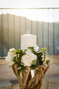 Beautiful candle and flowers decoration Greek Wedding, Plan My Wedding, Church Wedding, Flower Decorations, Wedding Decorations, Driftwood Wedding, Beige Wedding, Beautiful Candles, Jars