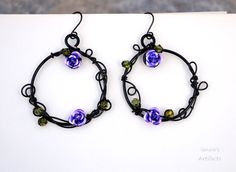 Hey, I found this really awesome Etsy listing at https://www.etsy.com/listing/202336851/goth-purple-roses-ring-earrings