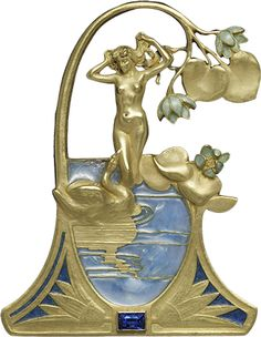 Lalique - 1898 'Leda and the Swan' Gold Pendant. A frame of enameled gold water lilies encloses a nude woman drying her long tresses as she watches a swan in a piqué-à-jour blue pond at her feet making advances to her w/his beak. At the base of the frame between two lilies is a dark blue sapphire in a rectangular border