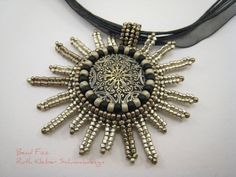 """Bavarian Style """"Edelweiss"""" Pendant, Bead Embroidery Pendant with Stylized Flower, Black and Pewter Dirndl Jewelry, Asymmetrical Pendant"""