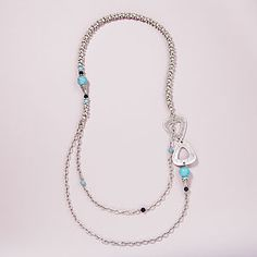 Turquoise and Silver Two-Strand Necklace - Very nice!!!
