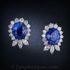 22.78 Carat Ceylon Sapphire and Diamond Earrings -