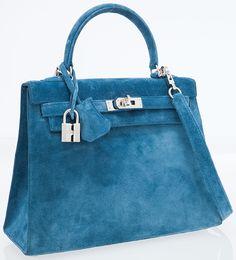 ** Hermes Blue Suede Sellier Kelly Bag
