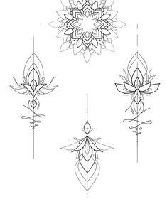 - Mandala - Tattoo World Mini Tattoos, Flower Tattoos, Body Art Tattoos, Small Tattoos, Cool Tattoos, Lotusblume Tattoo, Unalome Tattoo, Tattoo Drawings, Mandala Sternum Tattoo
