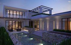 déco de terrasse avec gabion et idée pour la piscine