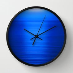Deep Blue Wall Clock, Sunset Photography, Nature Photography, Landscape Photography, Ocean Photography, Royal Blue Sea at Sunset - pinned by pin4etsy.com