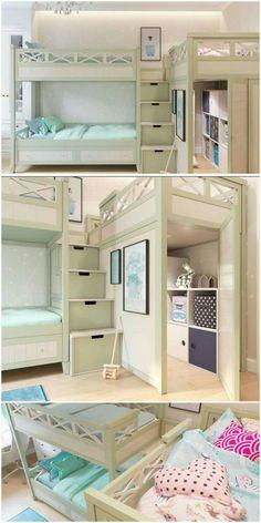 Attractive Triple Bunk Bed Design Ideas For Your Kids Bedroom Design 3 Bunk Beds, Bunk Beds For Girls Room, Custom Bunk Beds, Bunk Bed Rooms, Triple Bunk Beds, Modern Bunk Beds, Bunk Beds With Stairs, Kid Beds, Bedrooms