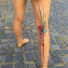 Awesome abstract watercolor leg tattoo by Ondrej Konupcik