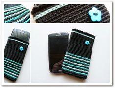 Crochet Phone Cover Made in K-town: Crochet Smartphone Cover Crochet Phone Cover, Crochet Case, Cute Crochet, Easy Crochet, Cell Phone Pouch, Cell Phone Covers, Phone Cases, Crochet Designs, Crochet Patterns