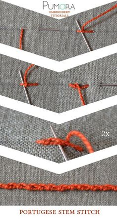 Pumora's embroidery stitch-lexicon: the portugese stem stitch