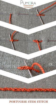 Pumora's embroidery stitch-lexicon: the portugese stem stitch