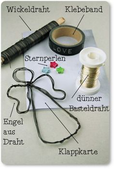 Drahtige Engel {Lieblingsstück} I can not stop … the angels go by the hand and make great as a gift tag, garland or on Christmas cards … For the Christmas card on the title … … Diy Crafts Love, Wire Crafts, Crafts For Teens, Diy Crafts To Sell, Handmade Crafts, Halloween Crafts, Christmas Crafts, Rock Crafts, Creative Crafts