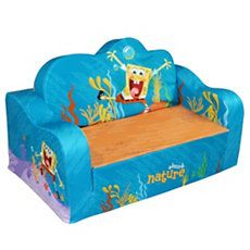 On sale $29.99 was $59.99 : Add some colorful decor to your toddler's room with this SpongeBob Beachy Flip Sofa.   The beachy design is made of plush polyester fabric and soft foam that is easy to clean.  This fun sofa flips out into a comfortable sleeping area for your little one.