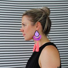 Emily modelling my FESTIVAL TASSEL EARRINGS. Tassel Earrings, Crochet Earrings, Drop Earrings, Emily Model, Make It Work, How To Make, Mollie Makes, Textile Jewelry, Recycled Fabric