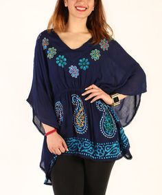 Another great find on #zulily! Navy & Turquoise Paisley Cape-Sleeve Tunic - Plus #zulilyfinds