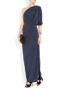 ACNE  Elaine asymmetric washed-silk gown